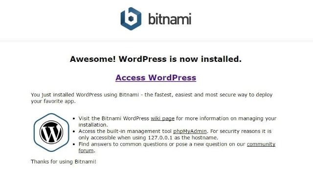 Access WordPress Bitnami