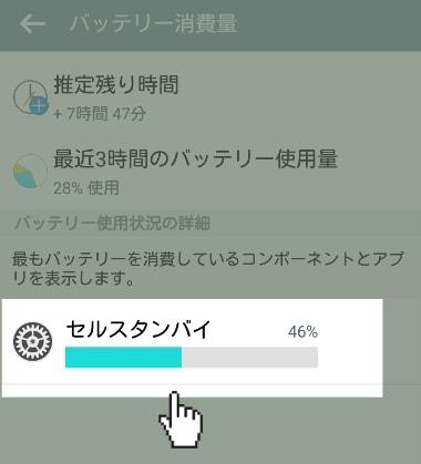 セルスタンバイ Android確認