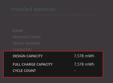 Installed batteries Battery report