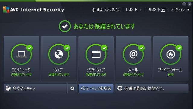 あなたは保護されています AVG Internet Security