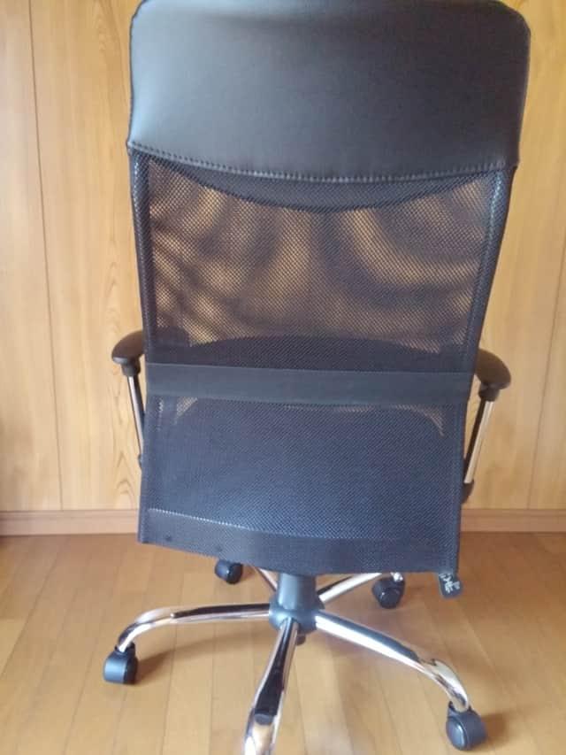 ハイバックオフィスチェア 腰あてクッション付き メッシュタイプ(ブラック) 後ろから